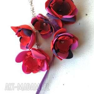 nausznica długa orientalna boho handmade kwiaty i pióra, nausznica