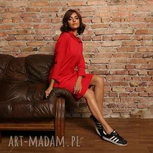 sukienki luźna sportowa sukienka z kapturem, t321, czerwona