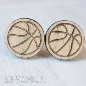 ręcznie robione spinki do mankietów drewniane spinki do mankietów koszykówka