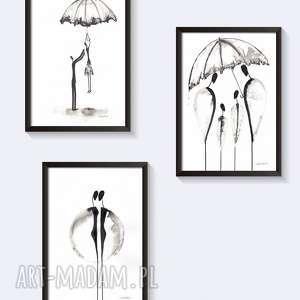 Zestaw 3 grafik czarno-białych - zamowienie art krystyna siwek