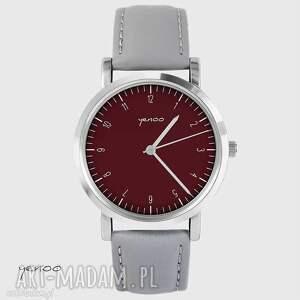 zegarki zegarek - simple elegance, bordo skórzany, szary, unisex
