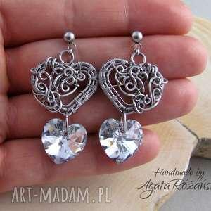 kolczyki serca swarovski xilion heart crystal cal, wire warpping, kolczyki, serce
