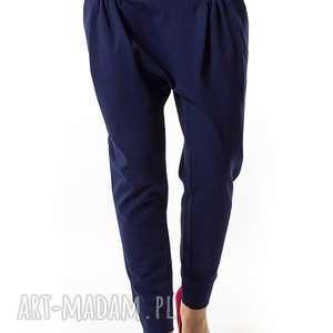 spodnie granatowe damskie regulowany stan sunbyoushi, spodnie, zwężane, jesień