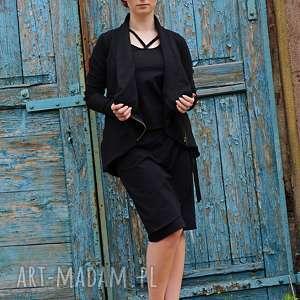 bluza marynarka czarna asymetryczna, bluza, wdzianko, na zamek