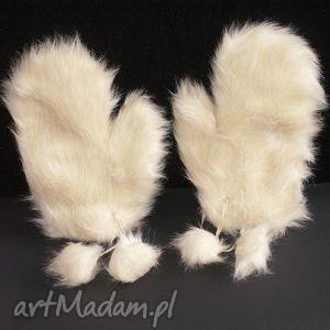 rękawice waniliowe - futerko, rękawiczki, futrzaki, prezent, zima, ekologiczne