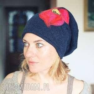 czapka wełniana damska granat - wełna, czapka, etno, ciepła, kwiaty, boho