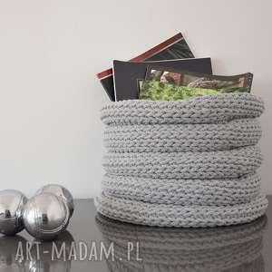 kosz ze sznurka bawełnianego - duży szary jasny harmonjka, kosz, koszyk, szydełko