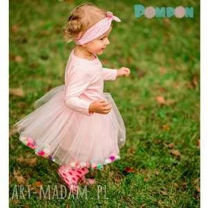 Sukienka tiulowa z pomponikami Fluffy Pink, pompony, pomponiki, tiul, tiulowa, tutu