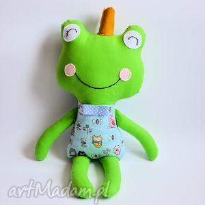 maskotki żabka - książę w małe sówki, żaba, książę, bajka, chłopczyk, zabawka