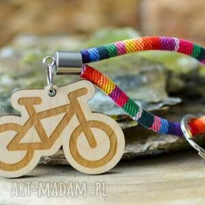 handmade breloki brelok do kluczy boho rower z drewna klon rainbow