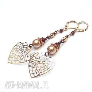 Alloys Collection /heart rose gold/ - kolczyki, serce, romantyczne, ki-ka, wiszące