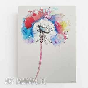 dmuchawiec-akwarela formatu 18/24 cm, akwarela, kolorowy, dmuchawiec