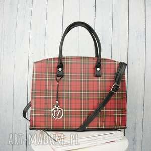 torebki klasyczny duży kuferek torebka manzana w stylu biznesowym - czerwona