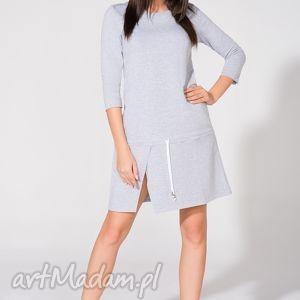 sukienka dresowa, t150, jasnoszara, sukienka, luźna, rozcięcie sukienki
