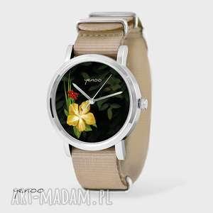 Prezent Zegarek, bransoletka - Jungle flowers beżowy, nato, zegarek,
