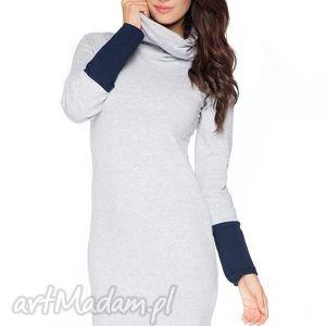 sukienka c_4 z kontrastowym kominem i mankietami - rawear - sportowa, dresowa, wygodna