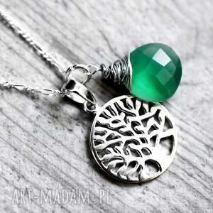 ręcznie robione naszyjniki 925 srebrny łańcuszek drzewo życia & zielony onyks
