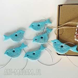 zawieszki świąteczne turkusowe ptaszki z kolekcji święta