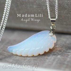 925 srebrny łańcuszek z wisorkiem skrzydła anioła - skrzydło, opal