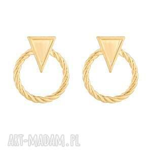 złote kolczyki obręcze z trójkątem, obręcz, trójkąt, pozłacane, delikatne