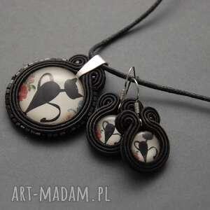 komplet biżuterii sutasz - kot, sznurek, delikatny, kotek, elegancki, wesoły