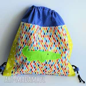 worek plecak z krokodylem - worek, plecak, krokodyl, chłopczyk, dziecko, aplikacja