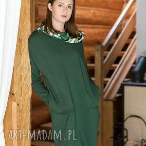 sukienka z kominem why not oversize zielona butelka wzorem, sukienka, bluza