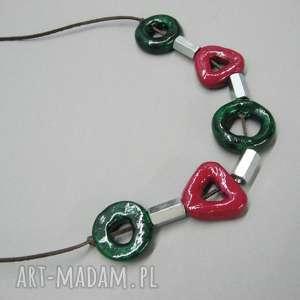 naszyjnik zieleń malachitowa - naszyjnik, biżuteria, prezent, ceramika, metal