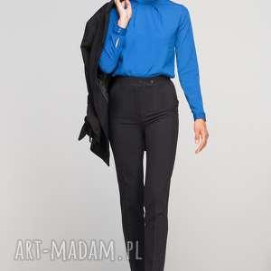 Spodnie bez mankietów, SD114 czarny, wysokie, eleganckie, kant, czarne, kieszenie