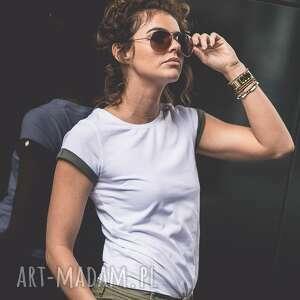 koszulki t-shirt - koszulka khaki sleeves, biała, koszulka, t-shirt, bawełna, prosta