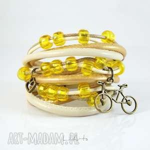 bransoletka - retro rower owijana, bransoletka, rzemienie