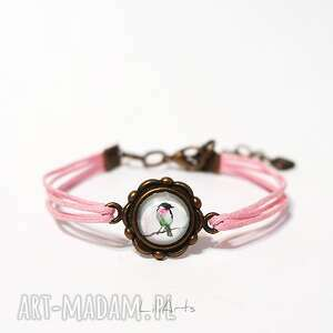 ręcznie zrobione bransoletka - ptaszek różowa, antyczny brąz