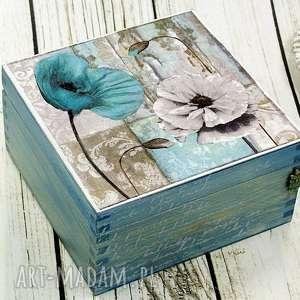 szkatułka-maki w szarościach, maki, pudełko, szkatułka, na, biżuterie, drewniana