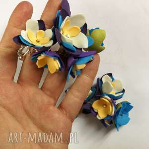 klipsy kwiatowe handmade wykonane w pojedynczym egzemplarzu, kwiaty, folk, etno, boho