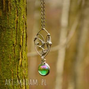 magiczna kula w zieleni - naszyjnik w stylu boho ze szkłem - naszyjnik, wisior