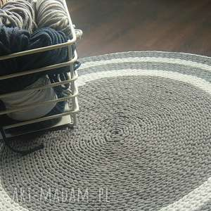 Ręcznie robiony dywan, sznurek, bawełna, szydełko, szary