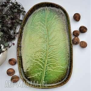 duża patera ceramiczna talerz dekoracyjny liść, ceramika, patera, talerz, liść
