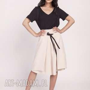 spódnice elegancka spódnica z efektownym wiązaniem przodu sp123 beż