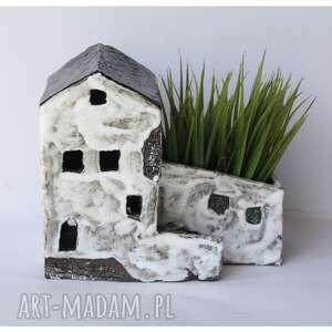 ceramika doniczka domek z miejscem na świeczkę, ceramika, domek, kamienica