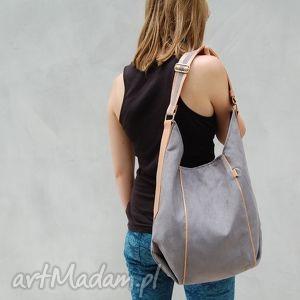 furia - torba worek szara, worek, wygodna, swobodna, miejska, alkantara, ekoskóra