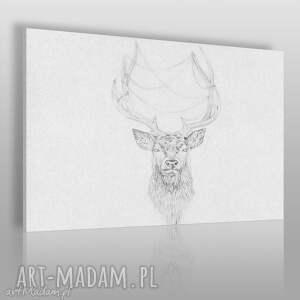 obrazy obraz na płótnie - jeleń szkic nordycki 120x80 cm 53501, jeleń