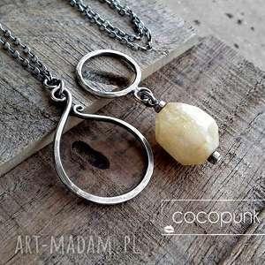 DŁUGI, BOGATY NASZYJNIK- SREBRO I CYTRYN., okazały, kamień-naturalny, cytrynowy