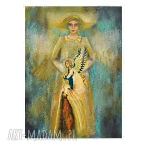 anioł helen, obraz ręcznie malowany, collage, w ramie, obraz, ręcznie, malowany