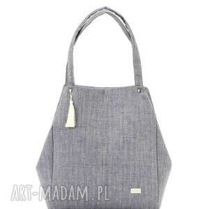 na ramię torebka lniana simple 815, szara, len, jodełka, elegancka, prosta, stylowa