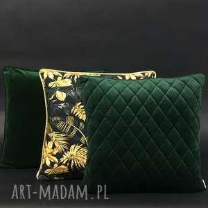 poduszki ekskluzywne - zestaw 2 butelkowa zieleń i złoto, dekoracyjne