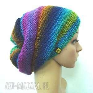 kolorowa czapka, czapeczka, cieniowana, kobieca przejściowa, zimowa