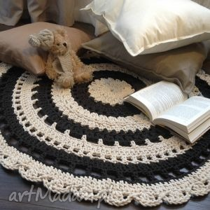 Ręcznie robiony okrągły dywan ze sznurka bawełnianego połączanie beżu z brązw=em