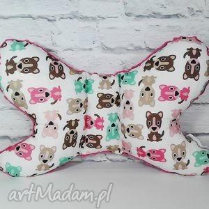 Poduszka Motylek z Minky, podróżna,antywstrząsowa , poduszka, motylek, antywstrząsowa