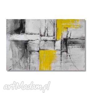 Abstrakcja popiel i żółć 2, nowoczesny obraz ręcznie malowany, obraz,
