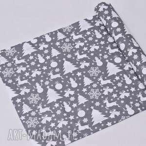 dekoracje bieżnik świąteczny bawełniany choinki szare, ozdoba na stół